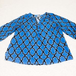 Crown & Ivy Blue Moroccan Blouse